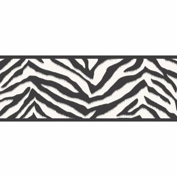 Mia Black Faux Zebra Stripes Border