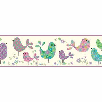 Patria Purple Calico Birdies Toss Border