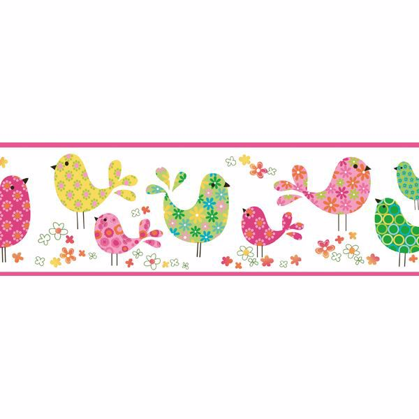 Patria Pink Calico Birdies Toss Border