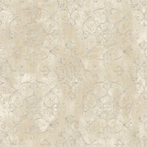 Aubrey Beige Crystal Medallion Texture