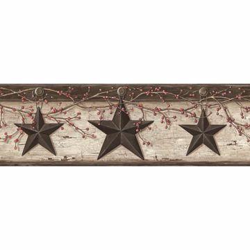 Ennis Grey Rustic Barn Star Border