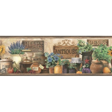 Brittany Black Herbs Antiques Portrait Border