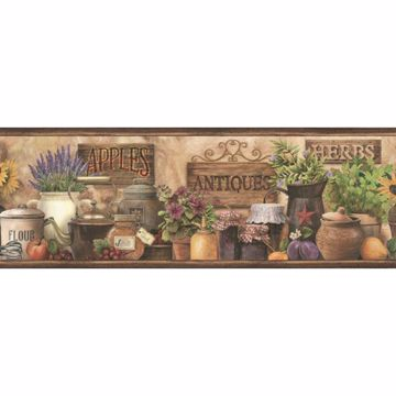 Brittany Brown Herbs Antiques Portrait Border