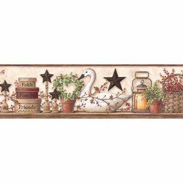 Rue White Swan Star Collage Border