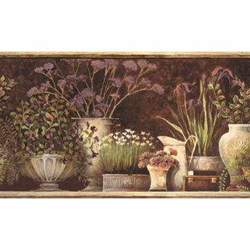 Frema Brown Floral Still Life Border