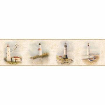 Seaman Cream Lighthouse Coast Portrait Border