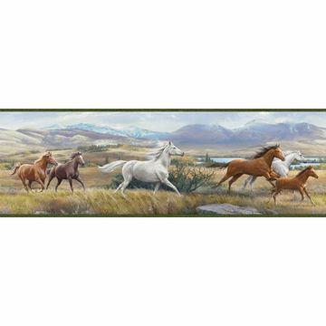 Swift Moss Open Range Horses Portrait Border