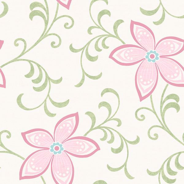 Khloe Pink Girly Floral Scroll