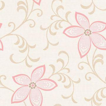 Khloe Beige Girly Floral Scroll