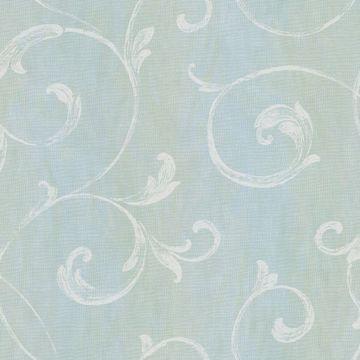 Gibby Aqua Leafy Scroll