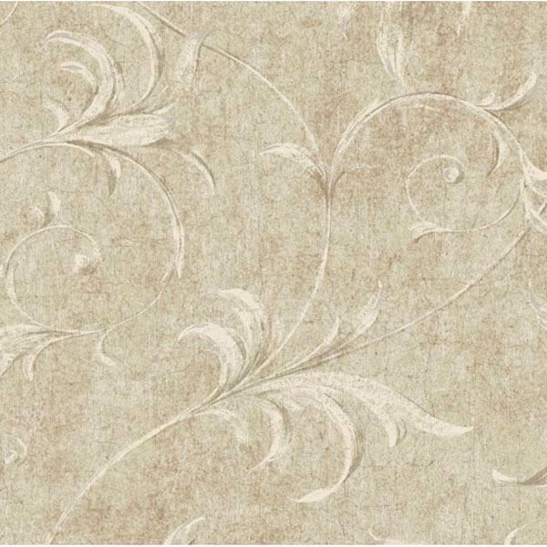 Beige Ogee Acanthus Scroll