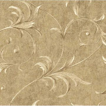 Taupe Ogee Acanthus Scroll
