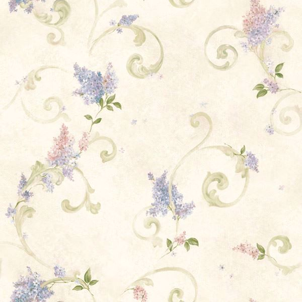 Kimberly Blue Lilac Acanthus Scroll