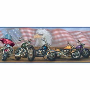 Bush Blue Americana Motorcycles Portrait Border