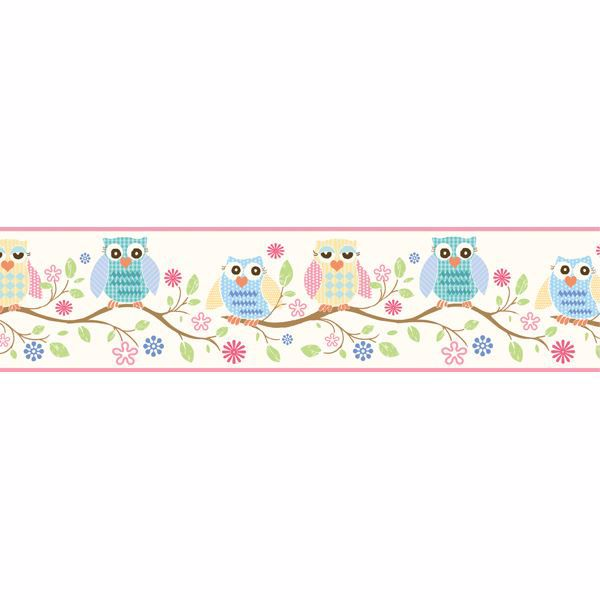 Winnifred Pink Owlets and Blooms Border