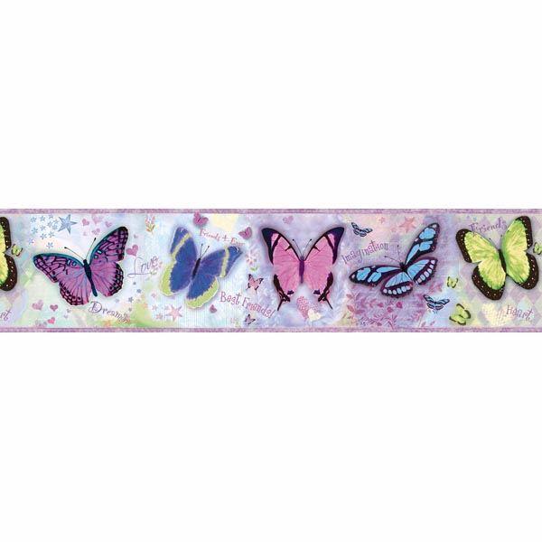 BFF Purple Butterflies and Stars Border