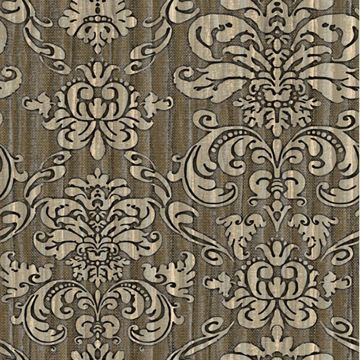 Marcella Green Faux Linen Damask