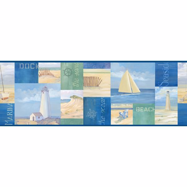 Blue Coastal Breeze Collage Border