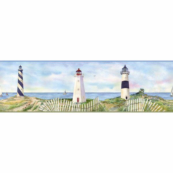 Blue Coastal Lighthouse Border
