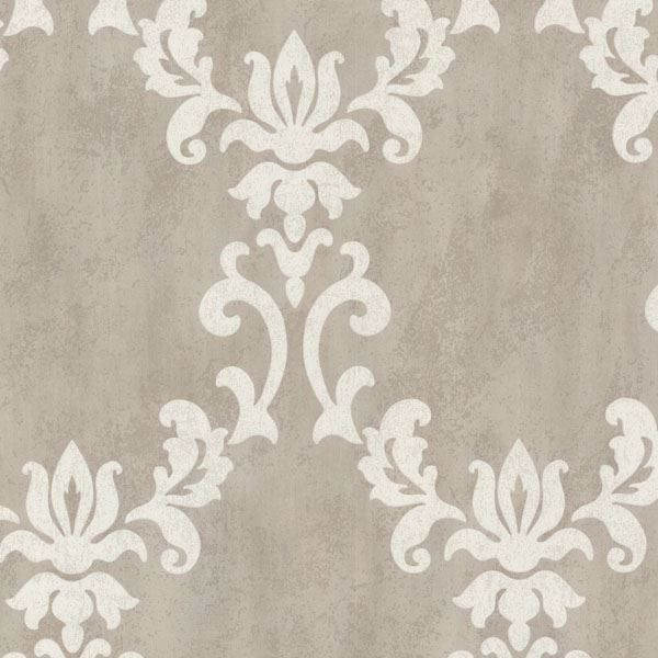 Renna Grey Large Scroll Damask