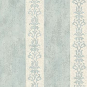 Parisi Light Blue Embellished Damask Stripe
