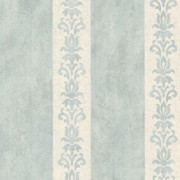 Parisi Light Blue Embellished Damask Stripe