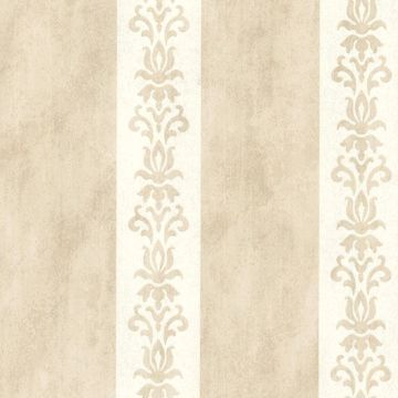 Parisi Beige Embellished Damask Stripe