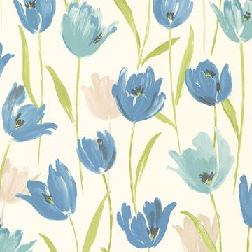 Finch Blue Hand Painted Tulips