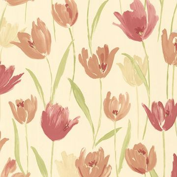 Finch Red Hand Painted Tulips