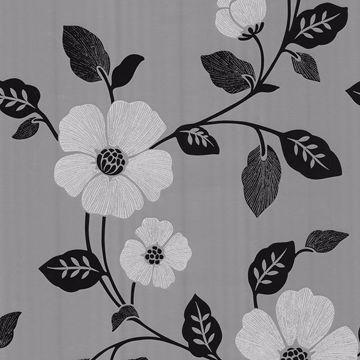 Sayles Black Modern Poppy Floral