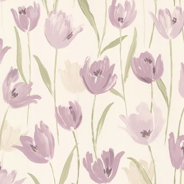 Finch Purple Hand Painted Tulips