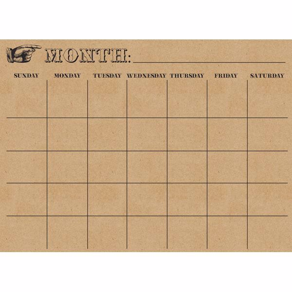Kraft Monthly Calendar