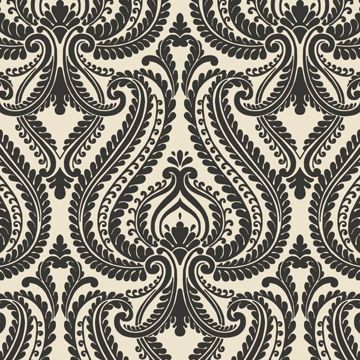 Imperial Black Modern Damask
