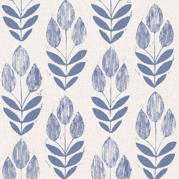 Scandinavian Blue Block Print Tulip
