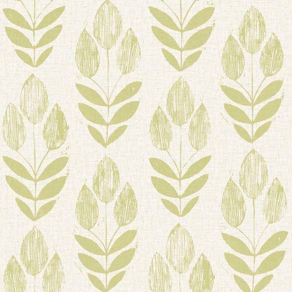 Scandinavian Green Block Print Tulip