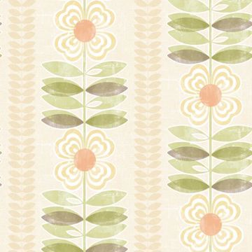 Flora Yellow Modern Floral Stripe