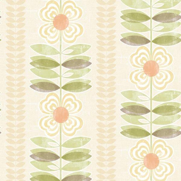 Flora Yellow Modern Floral Stripe