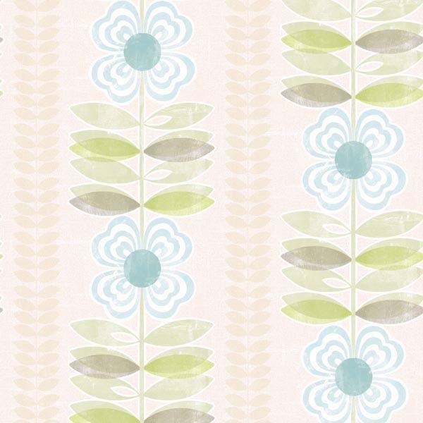 Flora Blue Modern Floral Stripe
