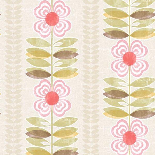 Flora Pink Modern Floral Stripe