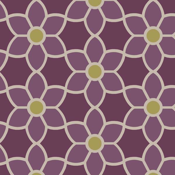 Blossom  Purple Geometric Floral