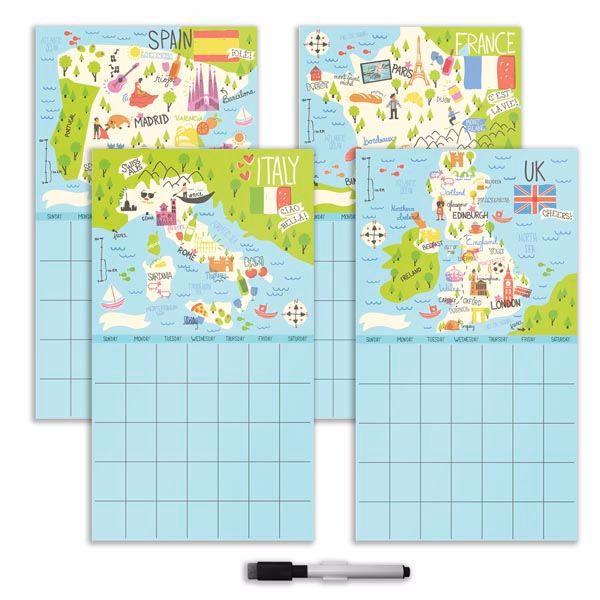 Bon Voyage 4 Piece Calendar Set