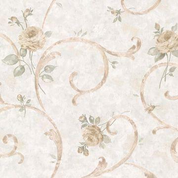Lotus Blue Floral Scroll