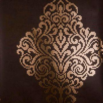 Lux Brown Foil Damask
