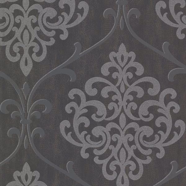 Ambrosia Charcoal Glitter Damask