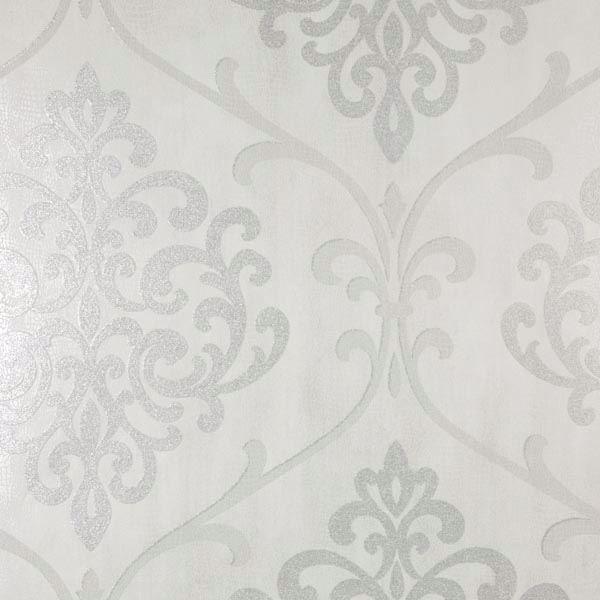 Ambrosia Silver Glitter Damask