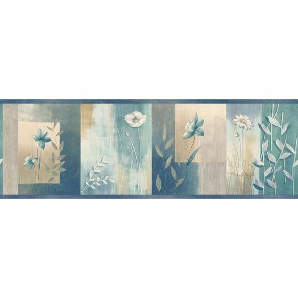 Bonnard Turquoise Colorblock Floral Border