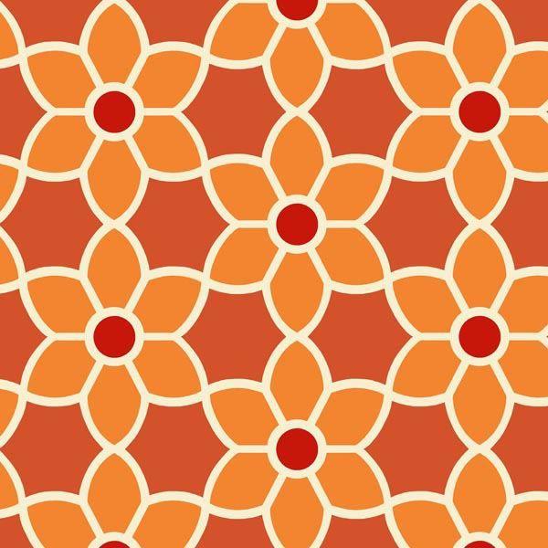 Flora Orange Geometric Floral