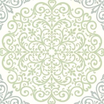 Cassidy Mint Medallion Damask