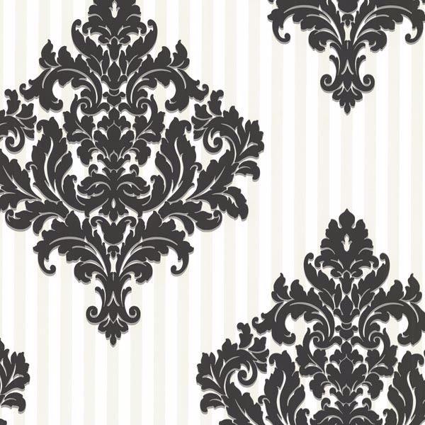 Rowan Black Damask Stripe