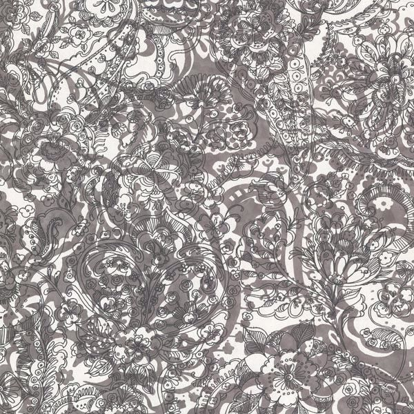 341524 Charcoal Floral Paisley